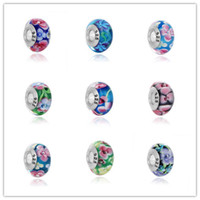 Cheap 9 kinds S925 sterling silver charming flower faceted Murano glass beads fit European charm bracelet DIY Pandora jewelry and pendants