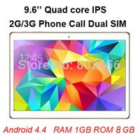 Cheap Wholesale-HOT ! 9.6 inch MTK6582 2G 3G Phone Call tablet pc Quad Core Dual Camera Sim 1G 8G Bluetooth Flashlight Android 4.4 Big discount