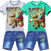 Cheap 5sets lot New Design Kids Boys Children Summer Cartoon Ninja Turtles Outfits Sets Clothes Short Sleeve T-Shirt + Jeans Shorts 3-8Y