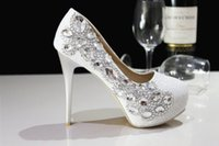 Wholesale 2016 New Cheap Fashion Luxurious Sparkling Pearl Crystals Wedding Shoes Custom Made Size cm High Heel Bridal Shoes Party Prom Women Shoes