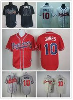 Wholesale Baseball Jerseys Men BRAVES JONES White Red Blue CREAM Jerseys stitched Top quality Mix Order Free