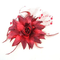 Wholesale IMC Red Organza Feather Corsage Hair Band Brooch Pin Prom Hot order lt no track