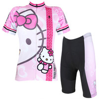 Wholesale Cycling Jersey Women Anime Hello Kitty Pink Cycling Clothing Cartoon Short Sleeve Cycling Clothes Jersey Sets X1018