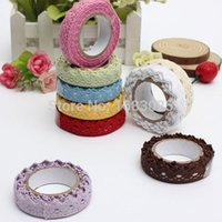 Wholesale Colorful Color mm x M Fabric Lace Ribbon Cotton Self Adhesive Decorative Sticker Home Decor Decoration