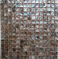 Wholesale 2015 new style HYRX shell mosaic tiles shell Dye dark black color Decorative river shell Mother Of Pearl Mosaic Tile