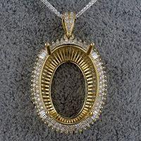baguette semi mount - Oval x26mm Women Semi Mount Pendant Settings Baguette Diamonds In K Yellow Gold SR002