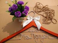 Wholesale Personalized Wedding Hanger bridesmaid gifts name hanger brides hanger Christmas Gift Double line hanger groom hanger