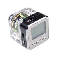 Mini Altavoz Nizhi TT-028 LED Crystal Altavoces portátiles FM TF del disco de U Pantalla LCD Subwoofer para el iPhone 4S 6 Plus 5 MP4 MP3 Reproductor de música 50PCS