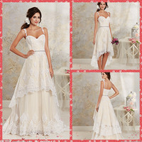 wedding gown detachable train - 2015 Stunning Spaghetti Sweetheart A Line Embroidery Lace Tulle Hi Lo With Detachable Sweep Train Bridal Gowns Crystal Sash Wedding Dresses