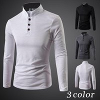 Wholesale new fall and winter clothes decorated three button collar long sleeved shirt POLO men Korean Slim Men s Fashion shirt free shippin