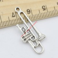 antique trombone - 10pcs Antique Silver Plated Trombone Charms Pendants for Jewelry Making DIY Accessories Handmade Craft x13mm Jewelry making DIY