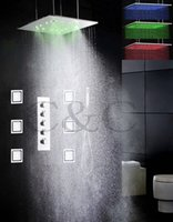 atomized water spray - LED Bathroom Shower Faucet Set Water Work Together Or Separately Inch Atomizing And Rain Shower Head Body Spray Jets WL MF