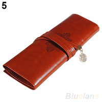 Wholesale Vintage Retro Roll Leather Make up Cosmetic Pen Pencil Case Pouch Purse Bag PT