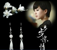 Cheap 925 Sterling Silver drop earrings High Quality Jade Magnolia Flower Woman Vintage Jewelry