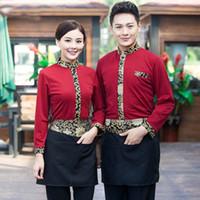 autumn restaurant - Autumn Long Sleeve Gold Collar chef costumes Restaurant Uniform Black Red Restaurant Chef Jacket for Women and Men