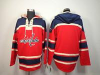 Men blank hoodie - 2014 New Old Time Hockey Jerseys Alex Ovechkin Brooks Laich Blank Red Fleece Hoodie Jerseys Embroidery Logo Mix Order