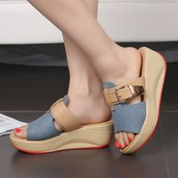 Cheap Korean Style Wedges Chunky Heel Red Bottom Denim Buckle Women Summer Slippers New Lady Open The Toe Jean Sandals Shoes SXQ0627