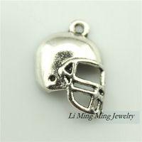 antique football helmet - 20pcs mm Football Helmets Charms Pendant Antique Bronze Silver Zinc Alloy DIY Retro Jewelry Accessories