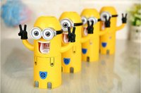 automatic packaging - Despicable Me Minions Automatic Cartoon Toothpaste Dispenser lovers Couples Toothbrush Holder Wash With Retail Package DHL