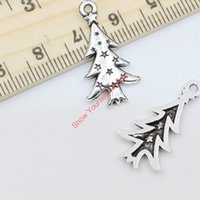 Wholesale 30pcs Antique Silver Plated Christmas Tree Charms Beads Pendants for Jewelry Making DIY Handmade x14mm