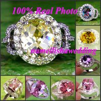 green topaz - Cheap Engagement Rings for Wedding Rainbow Oval Cut Morganite White Topaz Gems K Women Formal Wear Platinum Plated Ring Size Party Prom