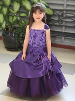 Wholesale 2015 New Arrival Pageant Dress For Little Girls Tulle Eastic Satin Royal Blue Purple Hot Pink Cupcake Pageant Gown With Straps Lace Up