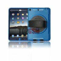 Wholesale iPad mini Case Water Resist Dirt Shock Proof Degree Rotatable Leather Hand Strap with Built in Stand Built in Screen Protector DHL