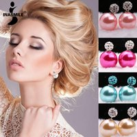 Wholesale New jewelry brincos double pearl earrings fashion stud earrings resin temperament beads earrings for women Crystal Earring