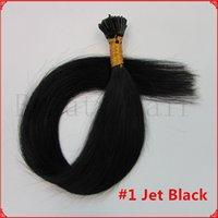 Wholesale Pre bonded Keratin Stick Tip Hair AGrade Brazilian Itip Human Hair Extensions Jet Black g s