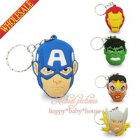 Wholesale Cute Marvel The Avengers Cartoon Keyrings Keychains Kawaii Keyfob Cartoon soft PVC key chains Cartoon Character Key Chains