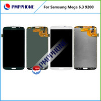 Cheap 5 pcs lot Samsung Galaxy Mega 6.3 i9200 i9205 LCD Touch Screen with Digitizer Assembly Black amd White Color Free DHL Shipping