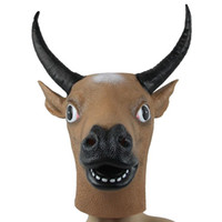 artificial face - 2015 natural latex artificial slip on Tauren mask dance party Buffalo facepiece halloween christmas mask