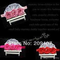 Wholesale New Arrival pink satin ribbon roses flower headband lace flower headband Baby Girls Hair Accessoris photography