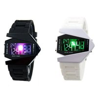 background stainless steel - New Mens Women Fighter watches Digital Stealth Fighters Design Watch LED Sports Watch Colorful Background Lights Silicone Wristwatch