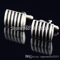 Wholesale Stainless Steel Black Stripes Vintage Jewelry Wedding Gift Mens Cuff Links IA814 W0 SUP5