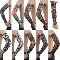 Wholesale New mixed Nylon elastic Fake temporary tattoo sleeve designs body Arm stockings tatoo for cool men women