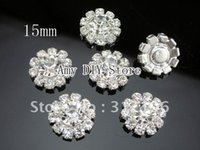 Wholesale mm Rosette Button Alloy Full Of Crystal Button Spark Rhinestone Buttons Jewelry Accessory