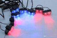 Wholesale 16 LED Car Strobe Lights sets x2 LED Flash Warning Light Red And Blue LED Emergency Light
