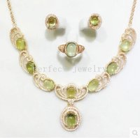 Wholesale Jewelry set Prehnite set Natural real prehnite sterling silver plated k white gold Perfect jewelry DH
