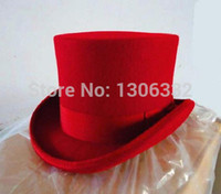 Wholesale Details about vintage Victorian Mad Hatter Top Hat100 Wool Red Adult New sz M