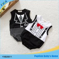 Wholesale 2015 new summer cotton genteman style baby rompers toddler jumpsuit baby boys newborn bebe overall clothes
