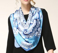 silk fashion square scarf - 2015 Spring New Fashion Large Printing Square Silk Scarves cm High quality