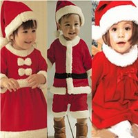 Wholesale 2014 Christmas Santa Baby Boys Girls Romper Red Rompers Fleece Romper Dress Hat Xmas Long Sleeves Climbing Clothes OY