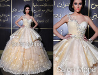 ba cap - Luxurious Champagne Wedding Dresses Ball Gowns One Shoulder with Appliques Tiers Taffeta Middle East Arabic Bridal Gowns Court Train BA