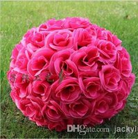 Wholesale Hot Pink Artificial Encryption Silk Flower Rose Ball Hanging Kissing Ball For Wedding Decoration Supplies CM to CM Available
