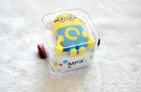Wholesale 2015 Colorful Despicable Me Minion style MP3 player USB Earphone Crystal Box Mini Rechargeable MP3 W TF card Slot