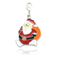 Wholesale Floating Charms Christmas Fashion Silver tone Enamel Santa Charms Pendants Christmas Decoration SD1587