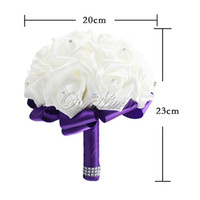Wholesale 2016 High Quality Hand Made Artificial White Purple Pink Bridal Wedding Bouquet Bridesmaid Flowers with Crystal Silk Satin Rose