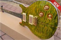 6 Strings santana - New Santana new guitar green flame maple top mahogany electric guitar