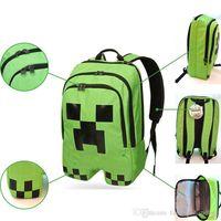 Wholesale 2014 Minecraft Backpack Schoolbag Game My World Men Boy Outdoor Sports Hiking Backpack Block Coolie Strange Satchel Big Capacity